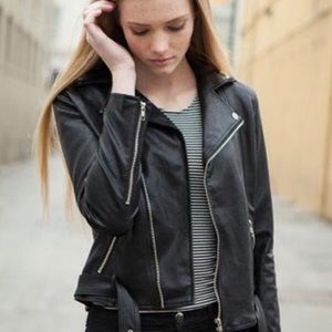 Brandy Melville Black Leather Biker Jacket